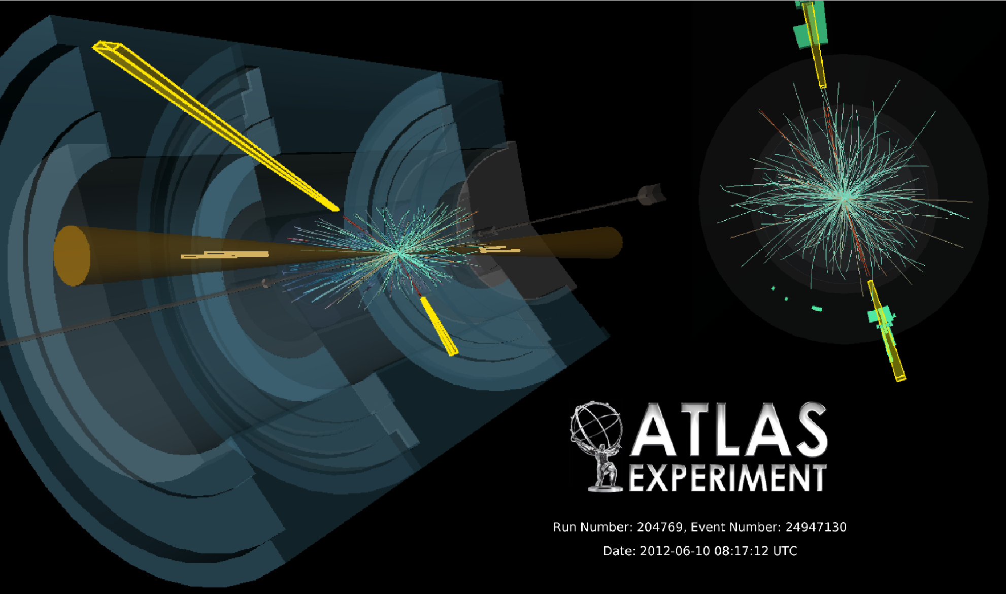 Vector Boson Fusion event observed in the Higgs to two photon decay channel. The signature of these events is two Jets (brown cones) and two photons (yellow boxes), both detected by their showers in the calorimeters.